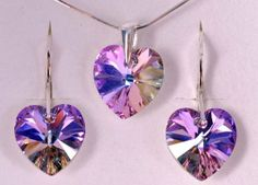 Swarovski Crystal 925 Sterling Silver Vitrail Light Lavender Lilac Purple Amethyst Diamond Accent Love Heart Charm Drop10mm Swar...