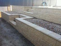 New Ideas Cement Patio Stones Retaining Walls Backyard Retaining Walls, Retaining Wall Design, Concrete Retaining Walls, Stone Retaining Wall, Cement Patio, Concrete Stairs, Retaining Wall With Steps, Concrete Blocks, Sloped Backyard Landscaping