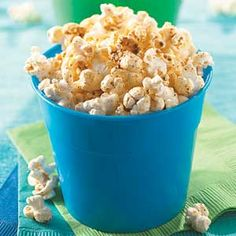 Cheesy Chili Popcorn This chili- and cheese-spiced popcorn snack is low in fat and calories but high in flavor.