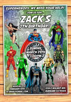 Justice League Birthday Invitation Justice by MonsterDigitals