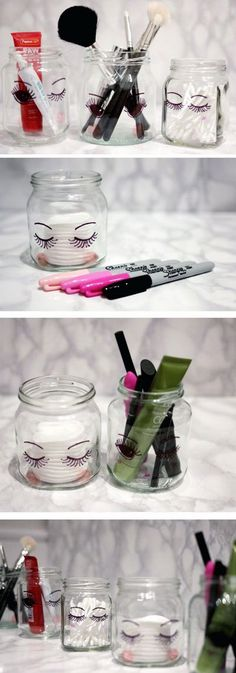 DIY Sharpie Make Up Storage Jars. These sharpie jars look super cute in their simplicity when place in your bathroom or vanity. Super easy, fun and quick to make in several minutes.