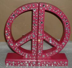 PEACE SIGN WOOD BOOKENDS~GIRLS~TEEN~DORM~BOOK ENDS~HOT PINK~JEWELED~RETRO DECOR | eBay