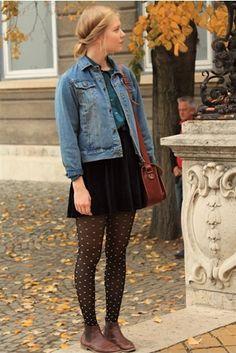 Milja of henkarillinenhattaraa blogspot. denim jacket, velvet mini skirt, dotted tights, brown satchel and booties.