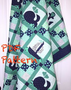 Nautical Baby Quilt Pattern Sailboat baby boy Quilt Pattern