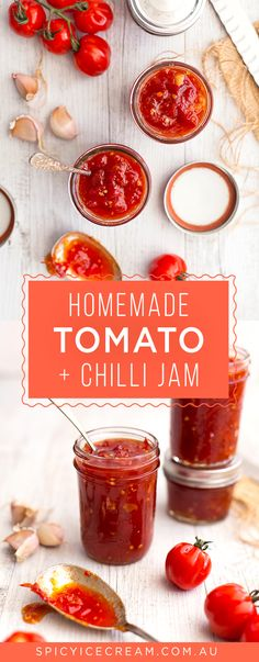 Tomato Recipes Homemade Tomato and Chilli Jam - tangy, sweet and spicy, perfect on sandwiches and burgers! Tomato Chilli Jam, Tomato Relish, Tomato Chutney, Sweet Chilli Sauce, Chilli Recipes, Jam Recipes, Drink Recipes, Recipies, Tapas