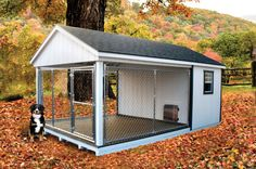 outdoor dog kennel ~ I want to build this so bad! Except I want to somehow enclose a grassy area for potty time. Perfect for when I have to be away from home all day but don't want craters dug all over my yard! :) must keep searching for a DIY plan. My best friend and I are going to have our own dogs. I'm going to have a German Shepherd and she's going to have a Pit Bull. - Tap the pin for the most adorable pawtastic fur baby apparel! You'll love the dog clothes and cat clothes! <3