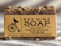 Red Wine Soap - Rustic Soap, All Natural Soap, Handmade Soap, Wine soap, cinnamon, Homemade Soap,  Fragrance Free Soap