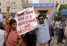 People outside the courthouse loudly cheered the decision. The sign above symbolizes how the victim's legacy has touched the nation. http://www.vocativ.com/09-2013/photos-india-demands-death-for-gang-rape-killers/