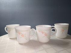 Correlle Dishes, Mugs Set, Garland, Coffee Mugs, Peach, Microwave, Chips, Tableware, Usa