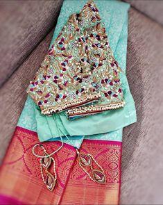 Wedding Saree Blouse Designs, Pattu Saree Blouse Designs, Designer Blouse Patterns, Fancy Blouse Designs, Blouse Neck Designs, Wedding Sarees, Hand Work Blouse Design, Stylish Blouse Design, Nike