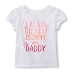 Image for Toddler Girls Short Sleeve 'I've The Best Mommy And Daddy' Graphic Tee from The Children's Place