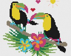 Tropical Toucan Modern Cross Stitch Pattern