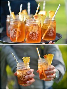 Mason jar wedding favors with signature wedding drink. Captured By: Stephen Ludwig --- http://www.weddingchicks.com/2014/06/09/ohana-wedding-in-honolulu/