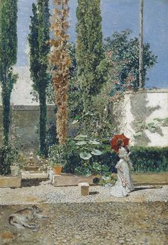 Garden of Fortuny - 1872 - Mariano Fortuny y Marsal (spanish painter) Spanish Painters, Spanish Artists, Web Gallery Of Art, Galerie D'art, European Paintings, Victorian Art, Traditional Paintings, Painting & Drawing, Art Decor