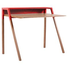 Wood+and+steel+writing+desk+with+a+cantilever+design.  +  Product:+Writing+deskConstruction+Material:+Power-coated+ste...