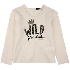 Ikks Long-sleeved flamed cotton T-shirt with lace patches Cream - Ivory - 92470 | Melijoe.com