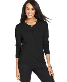 Charter Club Long-Sleeve Button-Front Cardigan