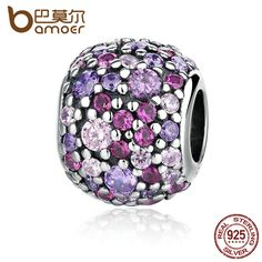 BAMOER 100% 925 Sterling Silver Colorful Beads Charm Charms fit  Bracelets for Women pulsera Fine Jewelry PAS335