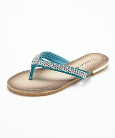 Look what I found on #zulily! Turquoise Rhinestone Y-Strap Sandal by Spoiled Angel Kids #zulilyfinds