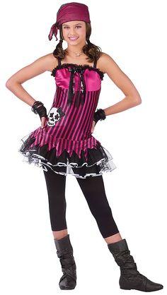 Teen Girl's Rockin' Skull Pirate Costume – Standard - Kids costumes Pirate Kids, Pirate Halloween Costumes, Pirate Party, Halloween Kids, Halloween Treats, Kids Costumes Girls, Girl Costumes, Costume Ideas, Zombie Schoolgirl Costume