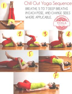 Pin now, practice later! A calming yoga sequence. Wearing: Athleta pants, Lululemon tank.