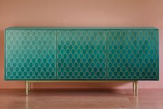 Nizwa handmade cabinet, credenza, sideboard. Marquetry with maple and solid brass. Stained maple. Green ombre. Pink walls. Bethan Gray for Shamsian.