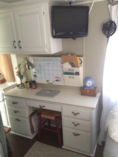 Kale On Wheels RV   Desk ...This is a good space! Tiny fan, leather drawer pulls, stool.