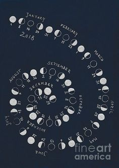 Lunar Calendar with moon phases of the Northern Hemisphere for 2018