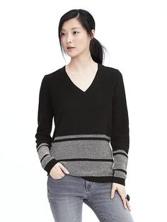 Italian Cashmere Blend Striped Vee Neck Sweater