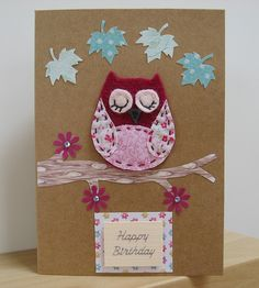 Pink sleepy owl applique birthday card - This is TOO Cute !