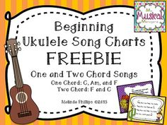 Beginning Ukulele Song Charts FREEBIE. One and two chord folk songs to use with your ukulele beginners. #orff #kodaly #free #elementary #music #class #classroom