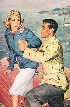 Raincoat Couple - detail from 1947 DuPont ad.