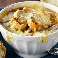 This classic French Onion Soup is made easy using Campbell's Ready-To-Use 30% Less Sodium beef broth, onions, red wine, balsamic vinegar, Gruyere & Parmesan.