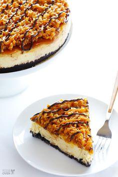"nom-food: "" Samoa cheesecake """