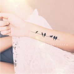 2pcs birds on wire tattoo - InknArt Temporary Tattoo - wrist quote tattoo body sticker fake