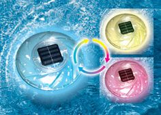 Floating solar pool lights will stay lit for 8 hours when fully charged.  These floating solar lights look great in your pool, pond, fountain or lake. Multiple color settings to fit every environment.