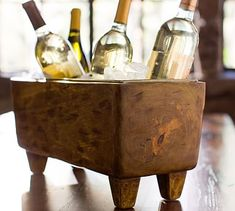 BLONDE WOOD WINE TROUGH~ Not your usual ice bucket, ours offers rustic stowage for white wine, soda and beer. wide x deep x high Made of hand-carved mango wood. Monogramming is available at an additional charge. Pottery Barn, Soda, Wine Bucket, Bucket Hat, Best Housewarming Gifts, Wine Tasting Party, Wine Parties, Outdoor Parties, Tasting Room