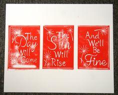 The Avett Brothers 'Please Pardon Yourself' Lyric Handmade Block Print on Etsy, $15.00