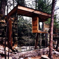 A Camouflage Sauna Amongst The Trees  Building: The Cadyville Sauna  Architect: Dan Hisel Architect  Location: Saranc, New York