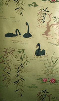Swan River - A Lake Scenic Wallpaper -107 [SWAN-107] Birds, Fowl, Swans, and More | DesignerWallcoverings.com ™ - Your One Stop Showroom for Custom, Natural, & Specialty Wallcoverings | Largest Selection of Wall Papers | World Wide Showroom | Wallpaper Printers