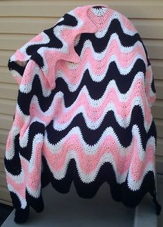 Black & Pink Ripple Afghan / Throw, Pillow & Coasters Crochet Patterns