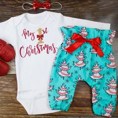 My First Christmas Outfit | 'My 1st Christmas' Top with Aqua Christmas Tree High Waisted Pants | Complete Baby or Toddler Christmas Set by OliveLovesApple