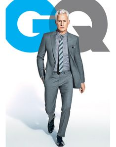 Suit, $1,295 by Emporio Armani. Shirt, $195 by Burberry London. Tie, $195 by Nicky Milano. Shoes, $750 by Salvatore Ferragamo. Vintage pocket square from RTH.    Read More http://www.gq.com/style/gq-100/201204/best-mens-gray-suits-business-john-slattery-mad-men#ixzz1rPm8wRkB