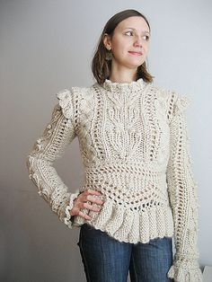 This sweater was sold at Anthropologie for $375! I made it in two weeks with $30 of yarn, bwahahaha.  26Jan2013: This was so much fun to make! It's ornate, crazy, gigantic-bulky and makes me ...