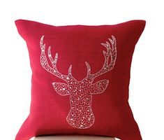 Deer Pillows Animal pillow Cover silver stag by AmoreBeaute Red Couch Pillows, Silver Pillows, Burlap Pillows, Decorative Throw Pillows, Couches, Christmas Pillow, Burlap Christmas, Christmas Cover, Advent