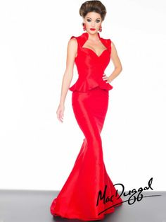 Red Peplum Evening Gown   Mac Duggal 61726R