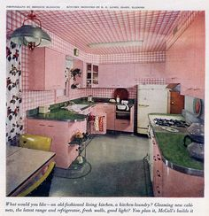An all-pink kitchen from the April 1951 issue of McCall's magazine. (this is the largest image I have seen of this fabulous pink kitchen) Kitsch, Vintage China, Retro Vintage, Vintage Homes, Vintage Decor, Casa Patio, Deco Retro, Living Vintage, Mid Century Modern Kitchen
