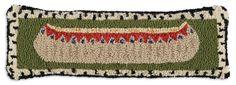 "8"" x 24"" Birchbark Canoe, hand hooked wool horizon pillow, Chandler 4 Corners, Manchester VT"