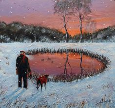 """Fine Art Greeting Card """"Best Ever Day"""" Acrylic on Board by Steve Sanderson Greyhound Art, Greyhound Rescue, Italian Greyhound, Hounds Of Love, Winter Scenery, Horses And Dogs, Whippets, Dog Paintings, Anna Wilson"""