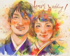 Tommyの似顔絵ウェルカムボード7 Couple Illustration, Artist Profile, Watercolor Portraits, Wedding Couples, Caricature, Wedding Invitations, Cartoon, Drawings, People